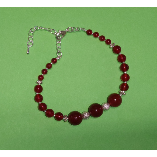 Bracelet approx. 19 cm + 5 cm silver-plated extension chain, silver-plated chain, with red agate beads