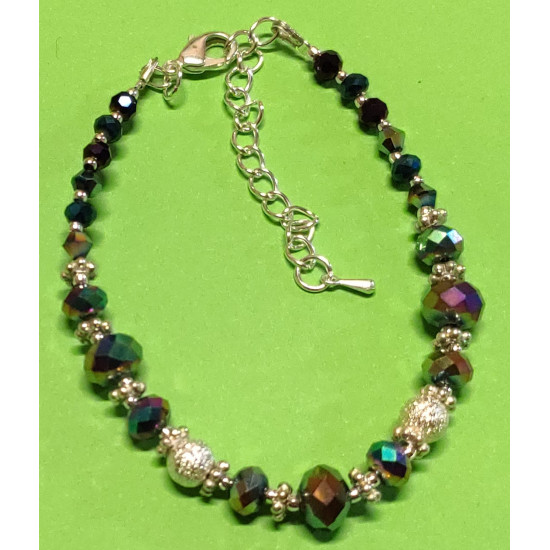 Bracelet about 17 cm + 5 cm extension chain, with faceted glass beads, abacus, rainbow