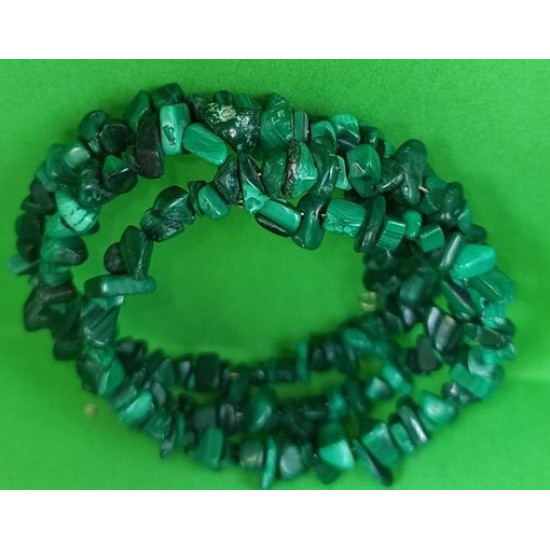 Semi-precious Bracelet made of natural malachite  chips. The bracelets are made by hand on memory wire.