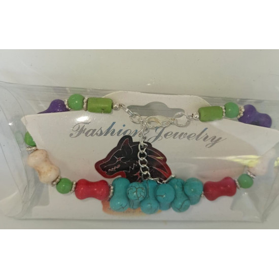 Semi-precious. Bracelet about 16-19 cm + 5 cm extension chain, with howlite beads of different colors and silver-plated accessories, made of silicone wire.