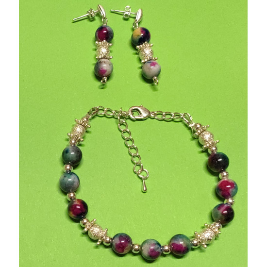 Bracelet about 18 cm + 5 cm extension chain, with Malaysia Jade, blue & green,