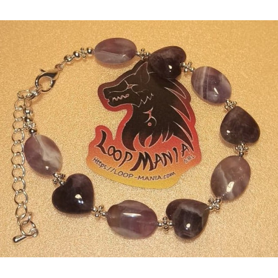 Heart and oval amethyst bracelet length about 19 cm + 5 cm silver plated extension. Made of silicone wire, silver-plated spacer spacer and silver lobster clasps.