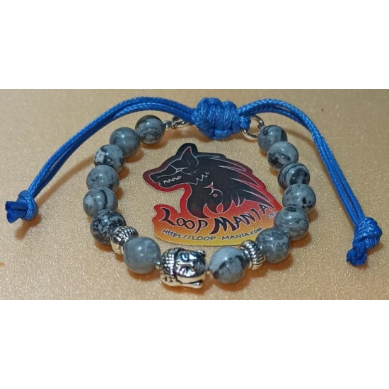 Bracelet jasper with Budha metal beads. Made of silicone wire, 6 mm jasper beads with Buddha silver metal beads and Tibetan silver spacer. Waxed cord locks. Size about 18-24 cm.