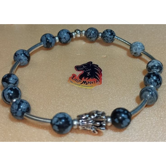 Jasper bracelet with metal beads buddha, dragon, lion. Made of elastic cord, 8 mm jasper beads with silver metallic beads buddha, dragon, Tibetan silver lion and silver-plated spacers. Size about 20-24 cm.