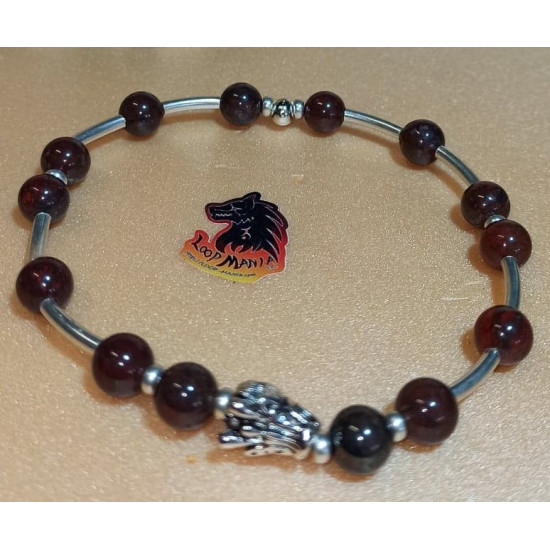 Bracelet brass jasper with metal beads buddha, dragon, lion. Made of elastic cord, 8 mm jasper beads with silver metallic beads buddha, dragon, Tibetan silver lion and silver-plated spacers. Size about 20-24 cm.