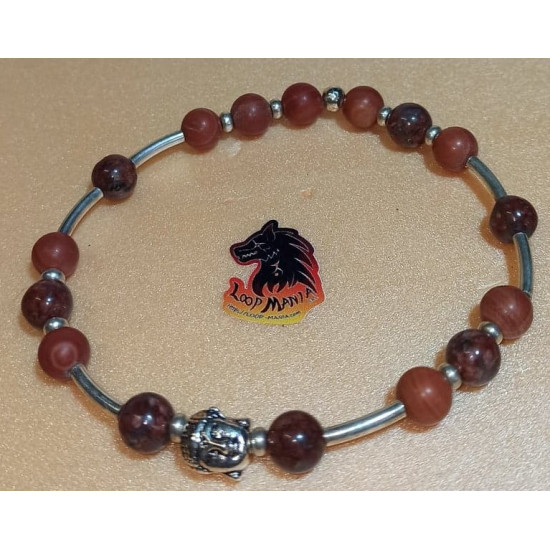 Bracelet. Brecciated jasper bracelet and wood lace stone with metal beads buddha, lion. Made of elastic cord, 8 mm jasper beads with silver Buddha silver metal beads, Tibetan silver lion and silver-plated spacers. Size about 20-24 cm.