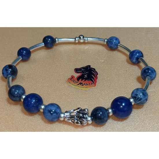 Bracelet. Sodalite and lapis lazuli bracelet with dragon metal beads. Made of elastic cord, 8 and 10 mm sodalite beads and lapis lazuli with silver metallic beads, Tibetan silver dragon and silver-plated spacers. Size about 23-24 cm.