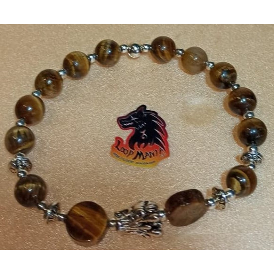 Bracelet. Tiger eye bracelet with metal beads buddha, lion, dragon. Made of elastic cord, 8 and 10 mm tiger beads with silver metallic beads buddha, lion, Tibetan silver dragon and silver spacers. Size about 20-24 cm.