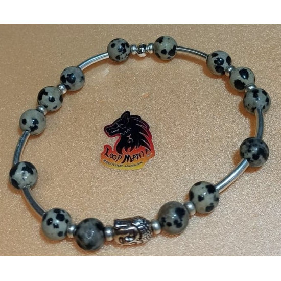 Bracelet.  Dalmatian jasper bracelet with metal beads lion, dragon. Made of elastic cord, 8 mm Dalmatian jasper beads with lion silver metallic beads, Tibetan silver dragon and silver spacers. Size about 20-24 cm.