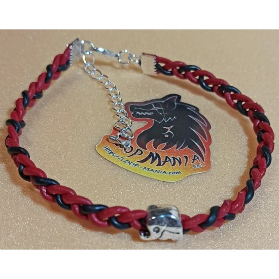 Leather bracelet with metal beads. Made of natural leather woven with Tibetan silver elephant and silver plated links. Universal size with silver lobster clasps and 5 cm silver plated extension.