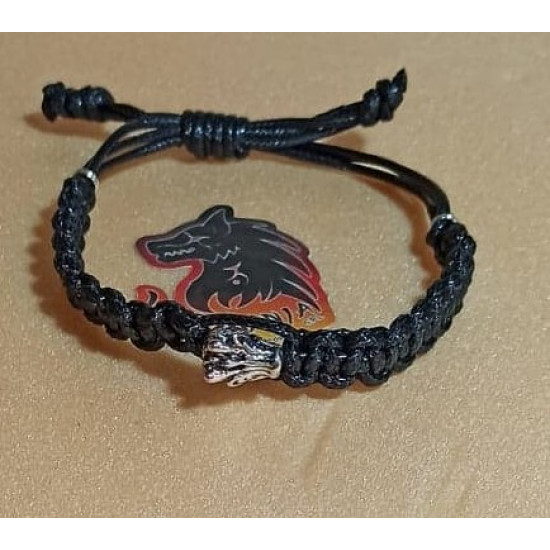Waxed cord bracelet with silver dragon bead. Made of waxed cord 2 and 2.5 mm braided 3 wires with Tibetan silver dragon metal bead. Universal size with sliding wax cord.