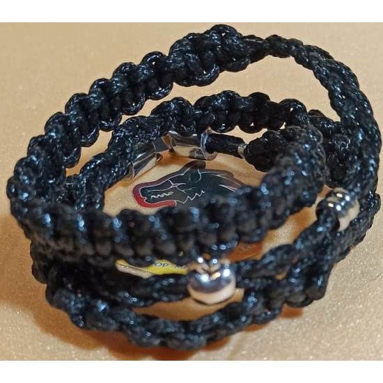 Hand-woven waxed cord bracelet. Made of waxed cord 2 mm braided 3 threads. Size 17.8 cm, spins 3 times next to the hand. Silver cord locks.