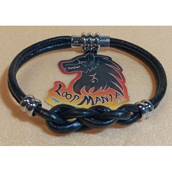 Natural leather cord bracelet. Made of 3 mm and 2 mm cord with silver magnet clasps.