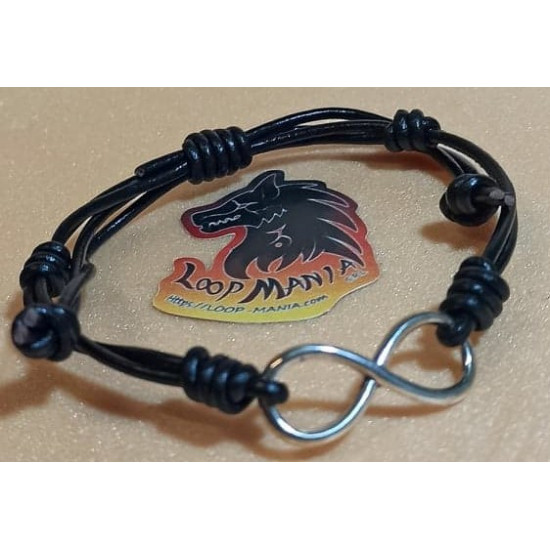 Natural leather cord bracelet. Made of 2 mm cord with infinite link and sliding leather clasps.