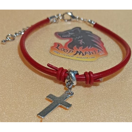 Natural leather cord bracelet. Made of 3 mm leather cord with different charms and silver lobster clasps with 5 cm extension.
