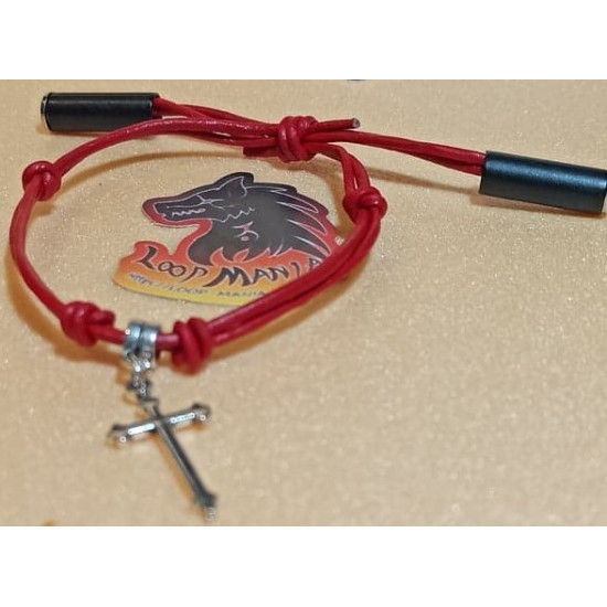 Natural leather cord bracelet. Made of 2 mm leather cord with different charms and sliding leather clasps