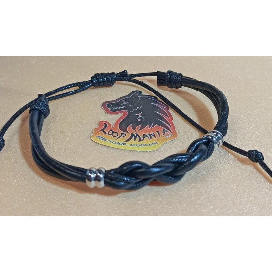 Natural leather cord and wax cord cord. Made of 3 mm leather cord and 2 mm wax cord with sliding leather clasps.