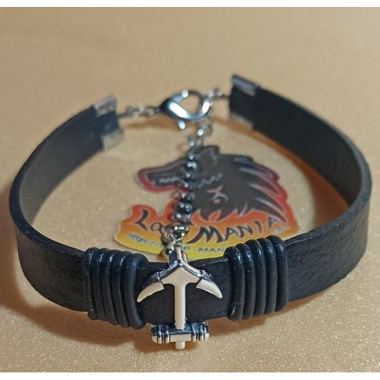 Natural leather cord bracelet. Made of 10 mm black leather cord, antique silver anchor slider and lobster silver clasp with 5 cm extension. Size = 21 cm + 5 cm extension.