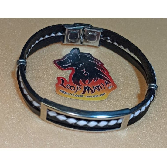 Natural leather cord bracelet. Made of 10 mm black leather cord (model 4 = 21/6 cm-2 3 mm wires and 1 3 mm braided wire), stainless steel spacer and stainless steel rectangular slider. Model size 1 = 20.3 cm, model l 2 = 23 cm, model 3 = 23 cm, model 4 =