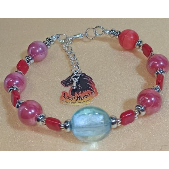 1 string Czech glass bracelet. Made of Czech glass beads on silicone wire with silver accessories. Lobster locks. Model 1 = 17.1cm, model 2 = 18.4 cm, model 3 = 18.4 cm, model 4 = 16.5 cm, model 5 = 19.7 cm, model 6 = 19.1cm, model 7 17.1 cm + 5 cm extens