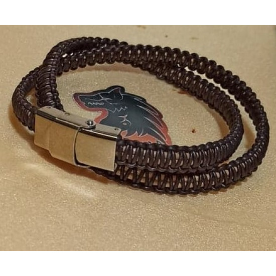 Natural woven leather cord bracelet. Made of 4 mm leather cord, 1 mm natural leather cord, hand-woven different color.
