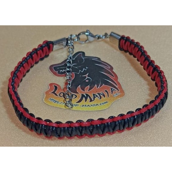 Cord bracelet woven of natural leather. Made of 4 mm leather cord, 1 mm natural leather cord, hand-woven different colors, and lobster clasps with 5 cm stainless steel extension. Model size 1 = 20.3 cm, model 2 = 20.3 cm.