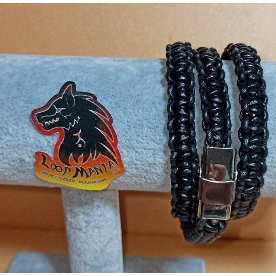 Natural woven leather cord bracelet. Made of 3 mm leather cord, 2 mm natural leather cord, hand-woven different color and stainless steel band closures. It rotates 3 times on the hand. Model size 1 = 20.3 cm.