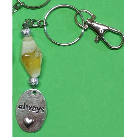 Keyring with lampwork stone and stardust beads.