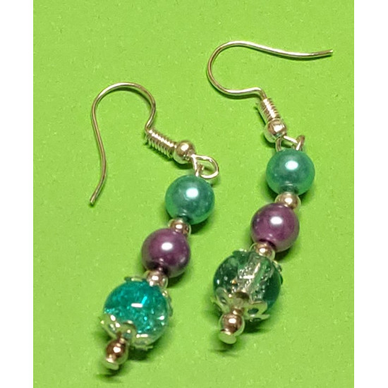 Earrings with blue and purple glass beads and blue-white crackle glass beads.