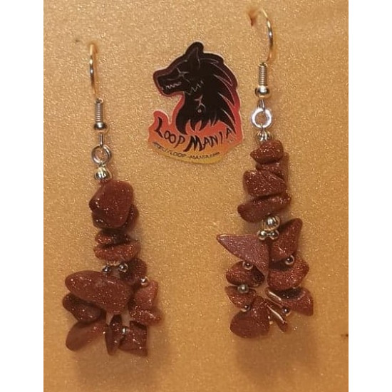Semi-precious bead earrings, made of sun stone chips with silver-plated accessories.
