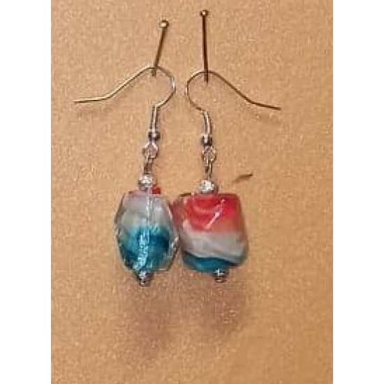 Earrings lampwork glass bead  with blue-white-red spiral inside16x15x14mm, made with needles, cakes and silver accessories.