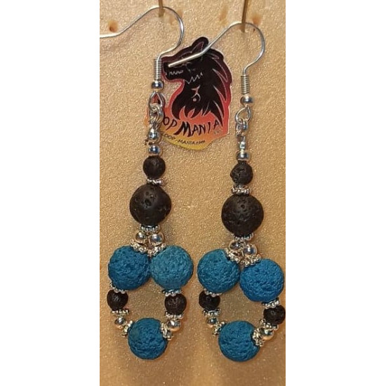 Earrings volcanic rock. Made of silicone wire with silver-plated accessories and cakes, volcanic rock spheres of different colors and silver-plated spacer spacer.