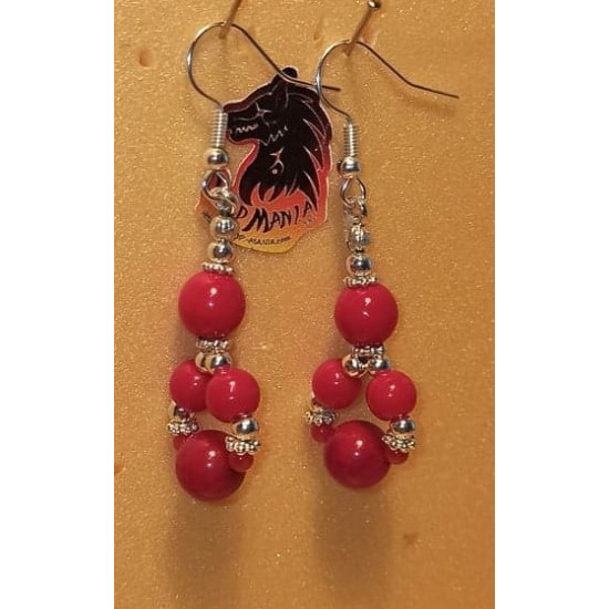 Earrings coral ball. Made of silicone wire with silver-plated accessories and cakes, coral spheres and silver-plated spacer spacer.