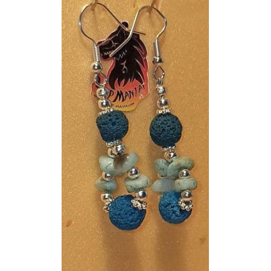 Volcanic rock earrings and amazon chips. Made of silicone wire with silver-plated accessories and cakes, volcanic rock spheres, amazonite chips and silver-plated spacer spacer.