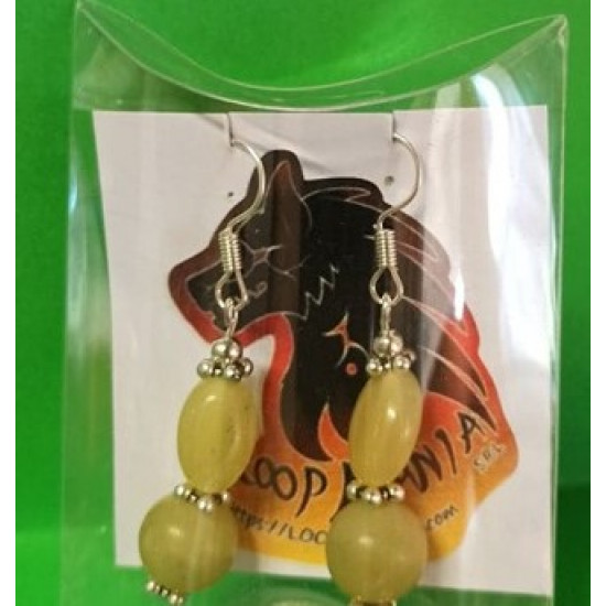 Earrings with semiprecious beads made of lemon jade with Tibetan silver accessories.
