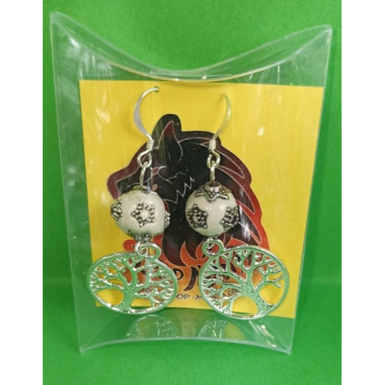 Silver plated earrings of life, Indonesian porcelain beads and silver plated accessories.