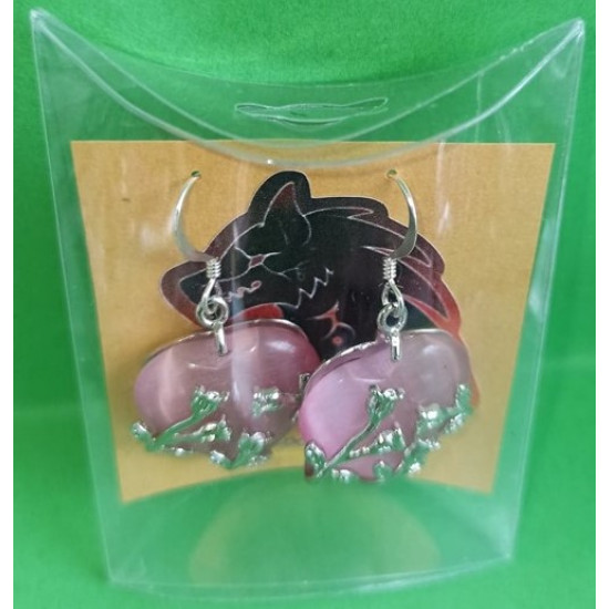 Earrings with different semiprecious stones and silver plated accessories.