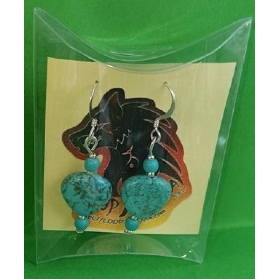 Earrings with small heart howlite gemstones and silver plated accessories.