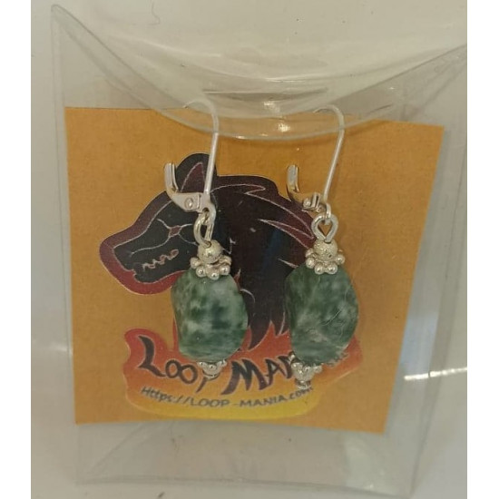 Earrings with semiprecious stones green spot green and garnet agate .