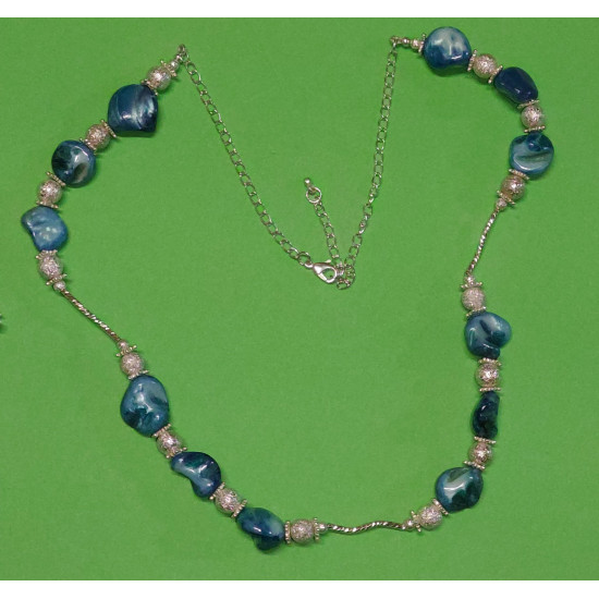 Necklace 62cm + 5cm extension chain, mother-of-pearl stones, silver stardust beads celestial beads.