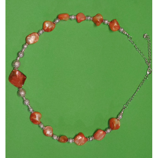 Necklace 48cm + 5cm extension chain, mother-of-pearl stones, celestial stardust beads.