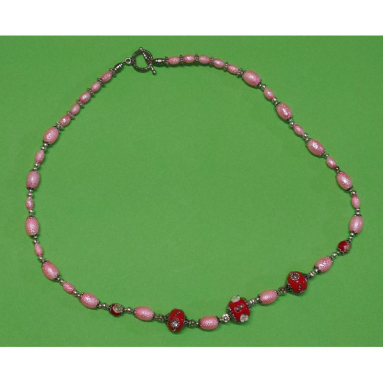 Necklace about 58 cm. Glass pearls, stardust, oval, deep pink.