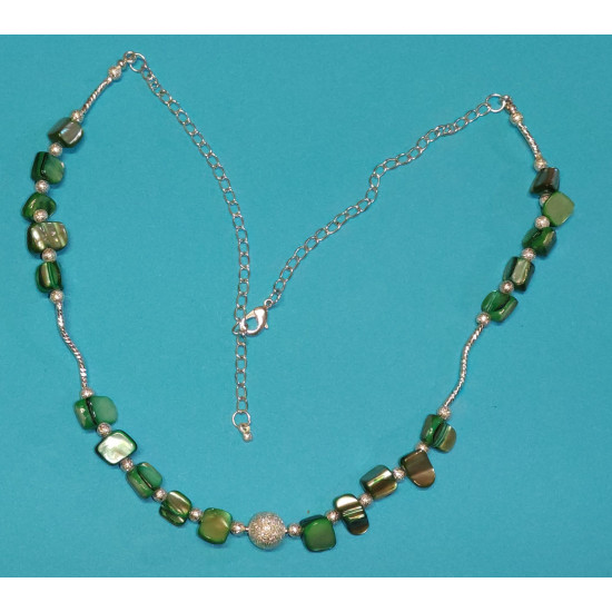Necklace 50cm + 5cm silver-plated extension chain, made of silicone wire, silver-plated metal chain, chips mother-of-pearl colored stones (green),