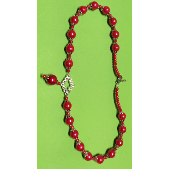 Necklace about 53 cm. Red glass beads, Tibetan silver link and Tibetan silver caps.