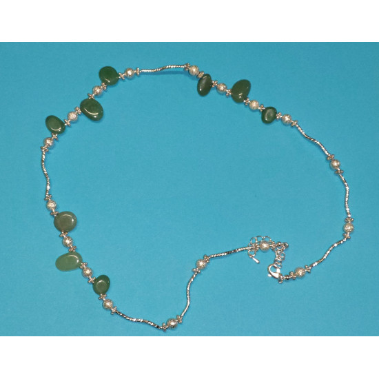 Necklace about 48 cm, made of silicone wire + silver-plated extension 5cm, silver-plated metal chain, semiprecious irregular nuggets aventurine, stardust beads, silver-plated brass beads twisted tube and silver-plated lobster clasps.