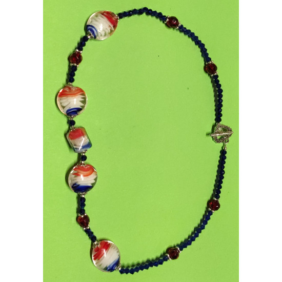Lampwork glass beads necklace (oval and round), transparent blue and transparent red faceted glass crystals,