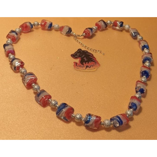 Lampwork glass bead necklace with blue-white-red spiral inside 16x15x14mm, made of silicone wire, silver stardust beads and silver accessories. Length 60 cm + 5 cm silver extension, lobster lock.