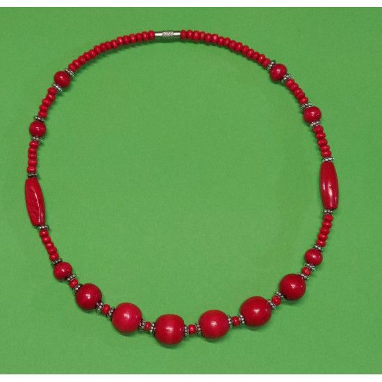 Wooden necklace about 45 cm. Wooden oval beads, red, Tibetan spacer with beads.