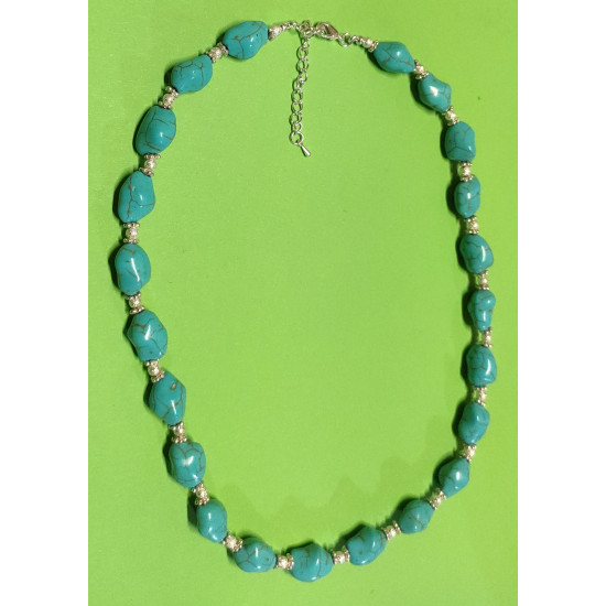 Necklace about 52 cm + 5cm extension plated with silver, The necklace is handmade on silicone wire, silver plated metal chain, synthetic howlit beads irregular shape light blue, stardust beads, silver brass beads.
