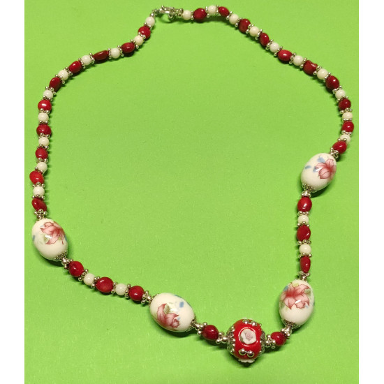 Semi-precious. Necklace about 50 cm, white and red coral. Spherical coral beads,uneven stones coral beads, porcelain beads, red Indonesian beads with porcelain flowers and Tibetan accessories,